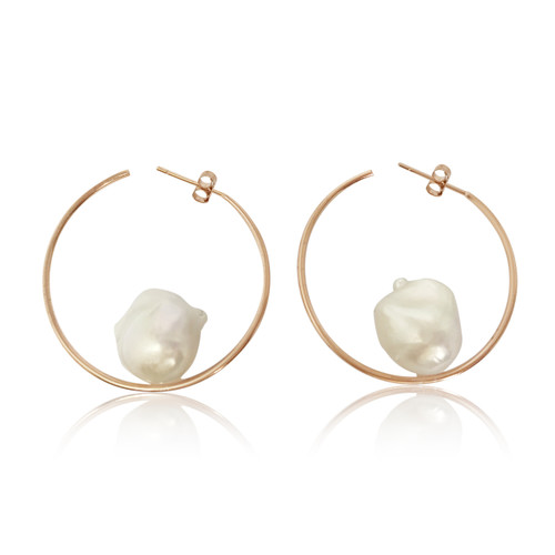 White Baroque Pearl Hoop Earrings, Rose Gold
