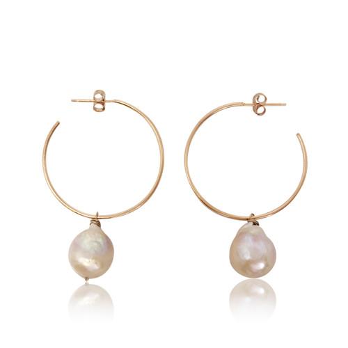Pink Baroque Pearl Hoop Drop Earrings
