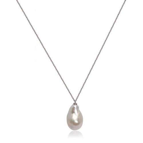 White Baroque Pearl Sterling Silver Pendant Necklace