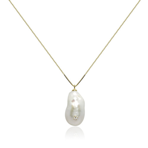 White Baroque Pearl Pendant Studded with Zirconia