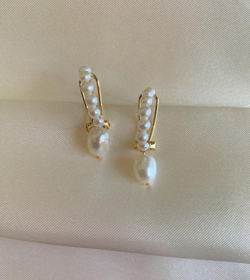 Pearl Hoop with Baroque Pearl Drop Earrings, Gold
