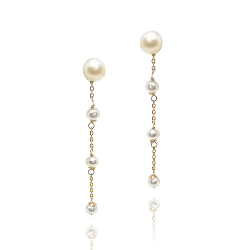 Pearl Stud and Drop Earrings, Yellow Gold