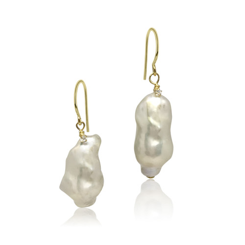 White Baroque Pearl Drop Earrings with Twisted-On Zirconia, Yellow Gold