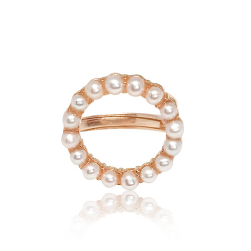 Halo White Pearl Stud Ring Adjustable, Yellow/Rose Gold