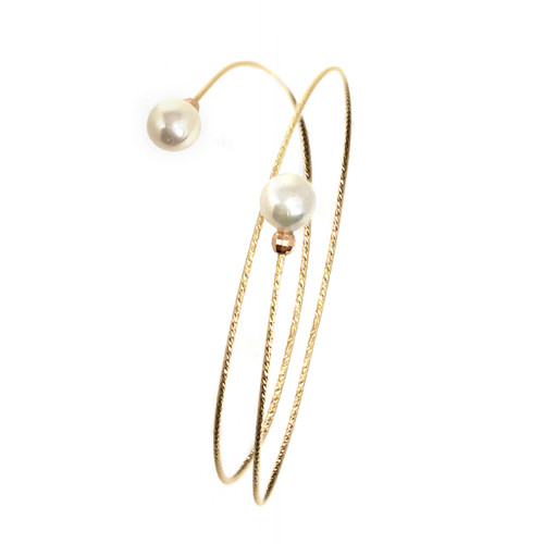 Dual Pearl Bangle, Yellow Gold