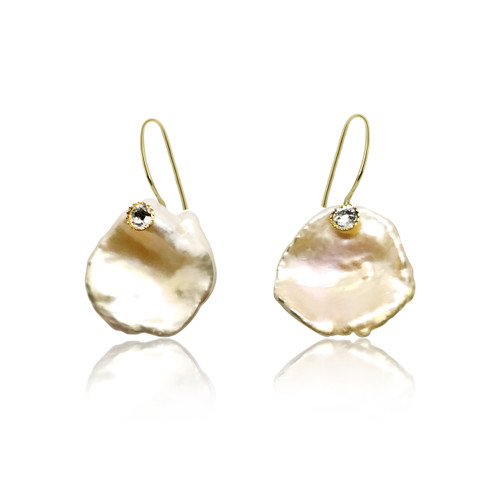 Pink Keshi Petal Pearl Drop Earrings with CZ, Yellow Gold