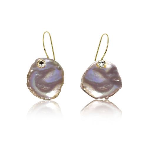 Purple Keshi Petal Pearls with Zirconia, Yellow Gold