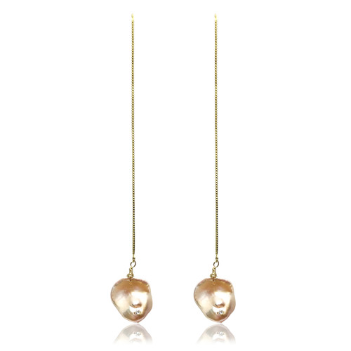 Pink Keshi Pearl Long Drop Earrings with CZ, Yellow Gold