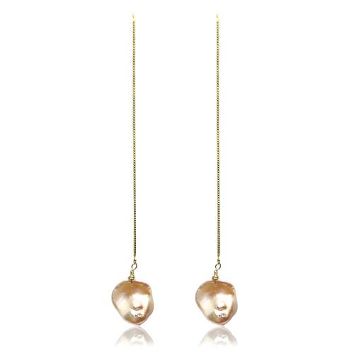 Pink Keshi Pearl Long Drop Earrings with CZ, Yellow Gold