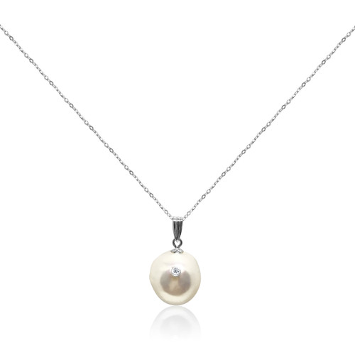 White Baroque Pearl Studded with Diamond Pendant, White Gold