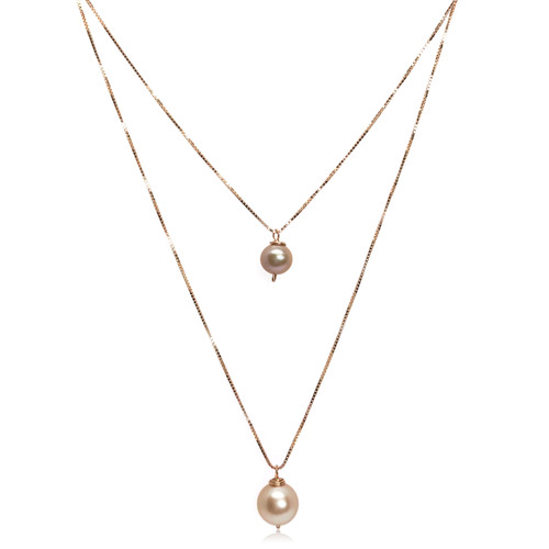 'Like Mother Like Daughter' Pink Pearl Pendant Necklace Set, Rose Gold