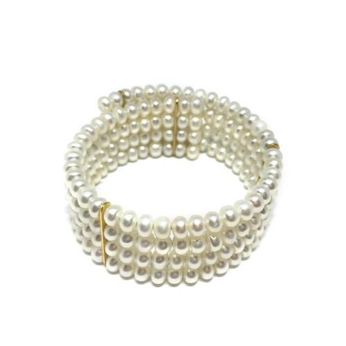 Four Row White Pearl Cuff