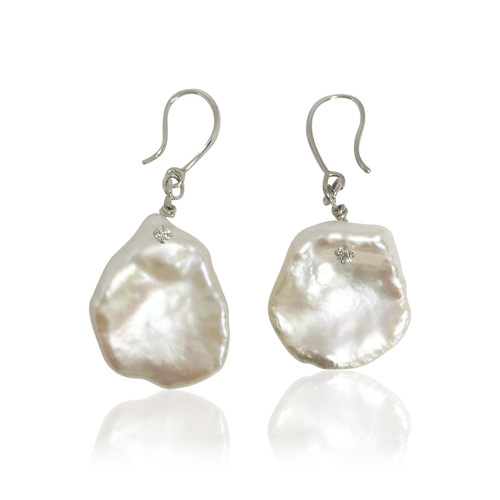 White Keshi Pearl Earrings Studded with CZ