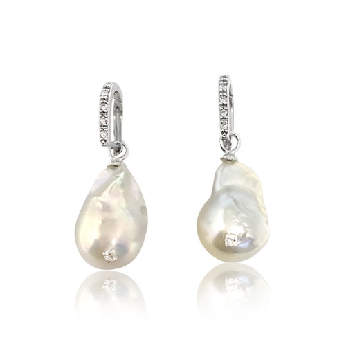 White Baroque Pearl Drop Earrings Studded with CZ on D Shape Hook