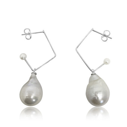 Silver Baroque Pearl Music Note Hoops Drop Earrings, Yellow Gold