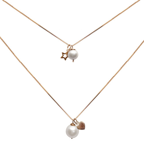 Personalised 'Like Mother Like Daughter' White Pearl Pendant Set with Heart or Star Charm , Rose Gold