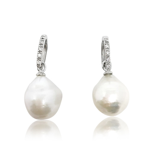 White Baroque Pearl Drop Earrings on Zirconia D Shape Hook