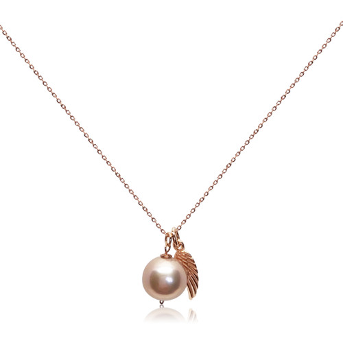 Lustrous Rose Pearl Pendant with Angel's Wing Charm