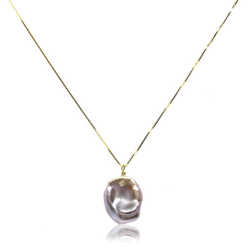 Violet Keshi Pearl Studded with Zircon Pendant, Gold