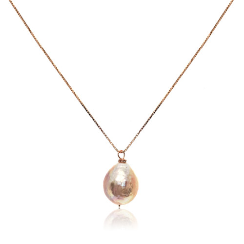 Personalised Pink Baroque Pearl Pendant, Add Your Own Favourite Charms