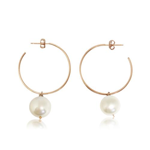 White Pearl Hoop Earrings, Rose Gold