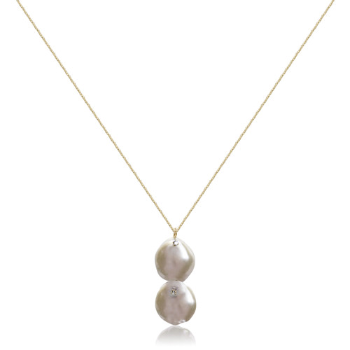 Dual White Keshi Pearl Pendant Necklace, Yellow Gold