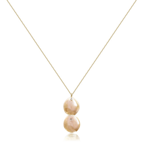 Dual Pink Keshi Petal Pearl Pendant Necklace, Yellow Gold