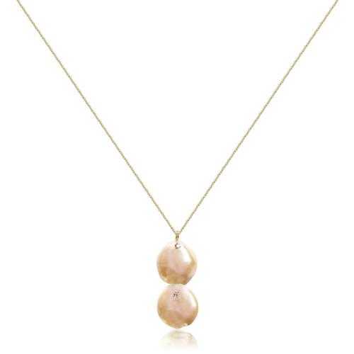 Dual Pink Keshi Petal Pearl Pendant Necklace, Yellow Gold