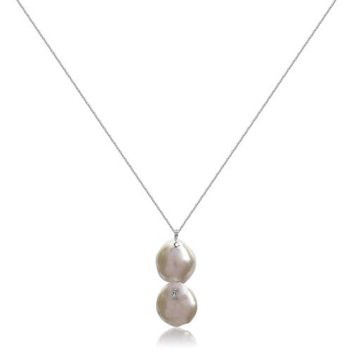 Dual White Keshi Petal Pearl Pendant Necklace, Silver