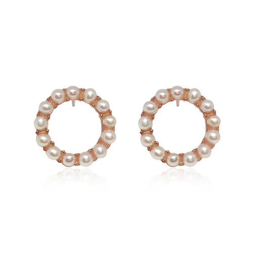 'Circle of Life' White Pearl Hoop Earrings, Rose Gold