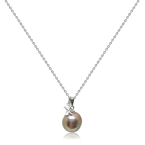 Lustrous Rainbow 'Violet Purple' Baroque Pearl with Alphabet Charm Pendant