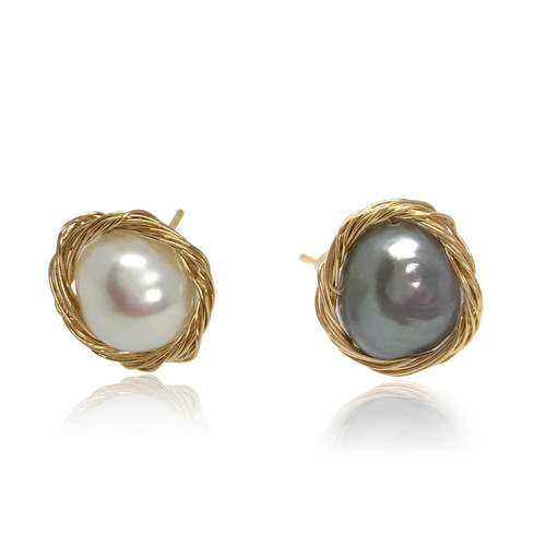 Mismatched White & Black Baroque Pearl Wire Wrapped Stud Earrings