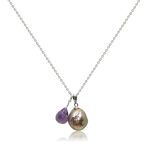 Lustrous Rainbow 'Violet Purple' Baroque Pearl Pendant with Amethyst Droplet