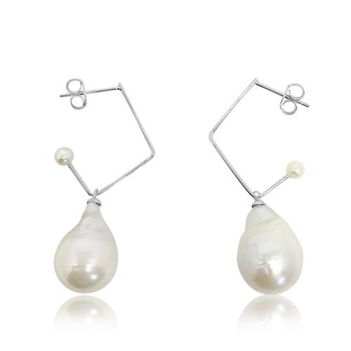 White Baroque Pearl Music Note Hoop Drop Earrings, Sterling Silver