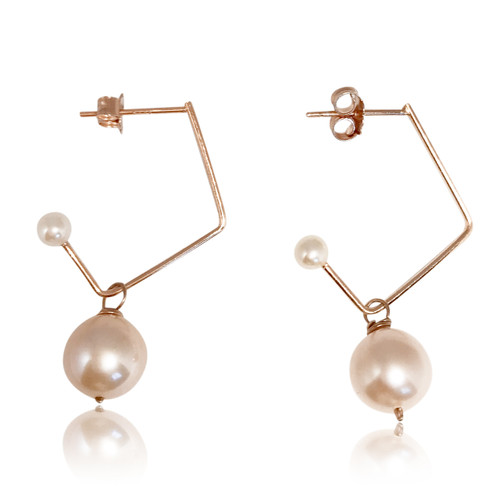 Pink Pearl Music Note Drop Earrings, Rose Gold