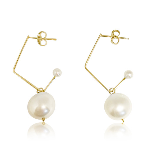 White Pearl Music Note Drop Earrings, Yellow Gold