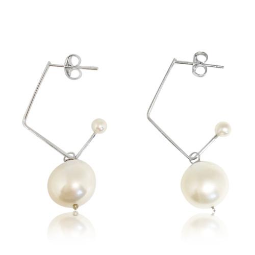 White Pearl Music Note Drop Earrings, Sterling Silver