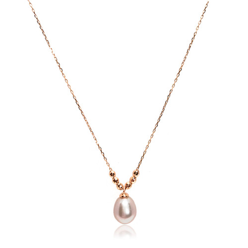 Pink Teardrop Pearl and Rose Gold Faceted Beads Pendant Necklace, Rose Gold