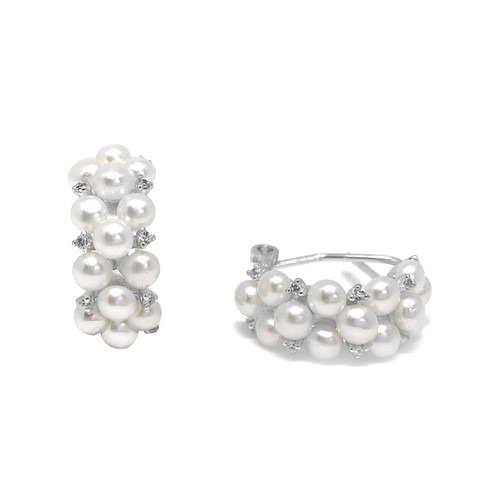 Triple Row Of White Pearls and CZ Hoop Earrings, Sterling Silver