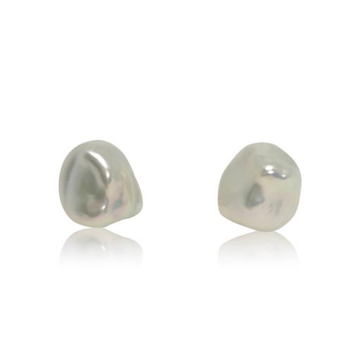 White Keshi Pearl Stud Earrings, Sterling Silver
