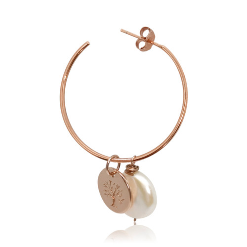 Personalise Your White Coin Pearl Hoop Earrings