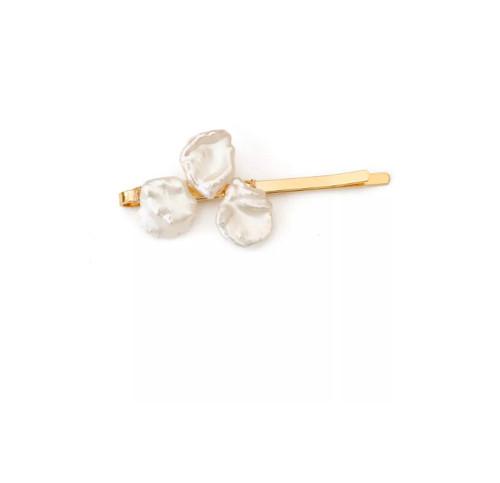 Hand Woven White Keshi Pearls Hair Clip, Gold