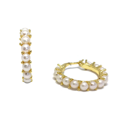 Large Single Row Pearl Hoop Earrings, Gold