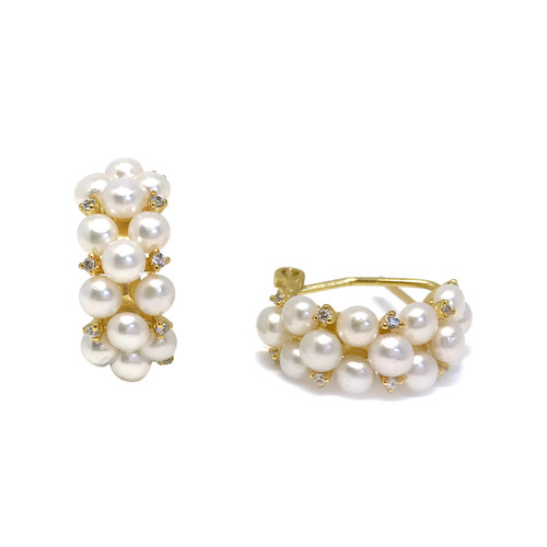 Triple Row Pearls Hoop Earrings with Zirconia, Gold