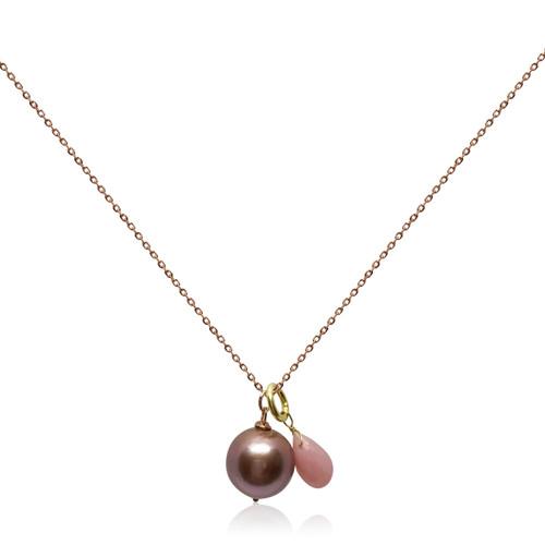 Lustrous Rose Single Pearl Pendant with Rose Quartz