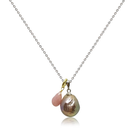 Rainbow 'Violet Purple' Baroque Pearl Pendant with Rose Quartz