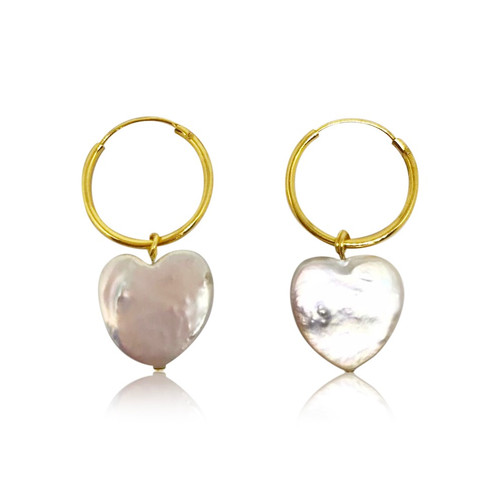 White Heart Shape Pearl Hoop Drop Earrings, Gold Vermeil