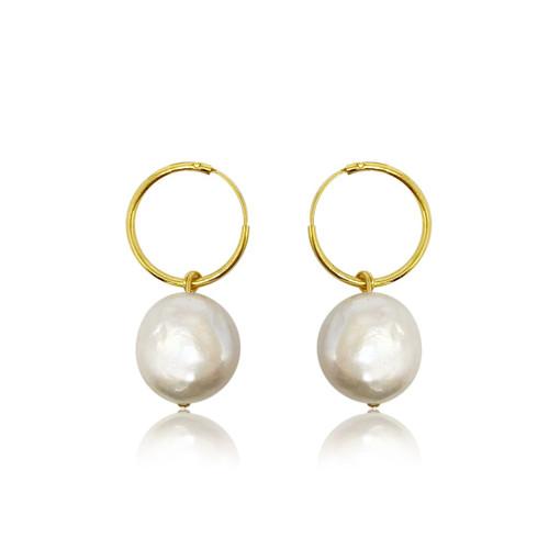 White Coin Pearl Hoop Earrings Drop, Gold Vermeil