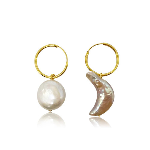 Sun and Moon Mismatched Pearl Hoop Earrings, Gold Vermeil