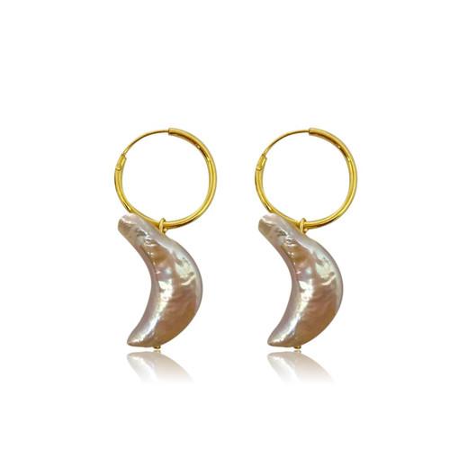 Pink Moon Pearl Hoop Earrings, Gold Vermeil